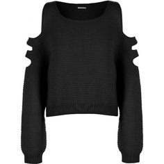 Aniya Knitted Off Shoulder Jumper (30 CAD) ❤ liked on Polyvore featuring tops, sweaters, shirts, black, black crop top, black sweater, black off the shoulder shirt, black off the shoulder sweater and crop top