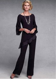 Buy discount Attractive Pant Suits Chiffon Scoop Neckline Full-length Mother Of The Bridal Dresses at Magbridal.com