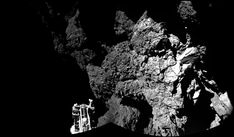 Incredible New Photos Taken From the Surface of a Comet | This incredible image was taken by the Philae lander of one of its legs resting on the comet's surface.     ESA/Rosetta/Philae/CIVA  | WIRED.com