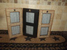 Primitive Crackle Tan Wood Picture Frame Multi Photo Wallet ~ Country Farm Decor #NaivePrimitive