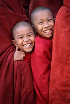 Happy Smiling from Novices at New Year Festival in Bagan, Myanmar by rickyalexander
