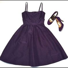 Anthropology Grape Colored Dress Adorable bangaline type fabric dress with detachable skirt and top ( buttons at waist) Has side zippers, detachable, adjustable spaghetti straps.  Have matching size 7 suede heels and ballet flats.  Like new, worn once - price reduced Anthropologie Dresses Strapless