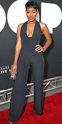 Last Night's Look: Love It or Leave It? Vote Now! | KEKE PALMER | in a plunging black jumpsuit with a bold pink lip (plus Jason of Beverly Hills jewels and a Tara Hirshberg body chain) at the Los Angeles Film Festival premiere of Dope.