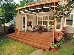 Turn an every day deck into an outdoor oasis with this makeover project from DIY Network that includes a canopy, seating and lighting. Add a canopy for shade, built-in seating and lighting to make your deck the place to be. http://www.diynetwork.com/projects/how-to-build-seating-shade-and-lighting-into-your-deck/index.html