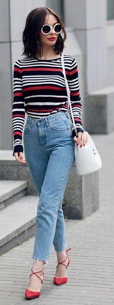 #spring #style #fashionistas #outfitideas  Bold Stripe Sweater + Denim + Orange Heels   Sonya Karamazova