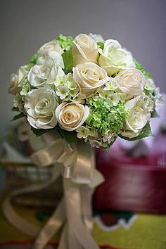 Silk Bridal Bouquet - Ivory White Roses Green Hydrangea Viburnum Real Touch Wedding Bouquet and Groom's Boutonnière Custom Wedding Bouquet. $115.00, via Etsy.