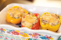 These low carb stuffed peppers are the perfect dinner to serve to the whole family. Simply let the kids eat the filling out of the pepper, or serve them the filling on its own. They will get a nice does of veggies from the cauliflower rice.