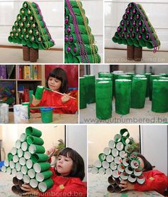 45 Spending Orçamento amigável de última hora DIY Decorações de Natal Artesanato de Natal DIY idéias de design de interiores Decor Foto arvore de natal de rolo de papel