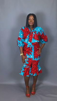 NEW IN:African print blouse and skirt setAfrican