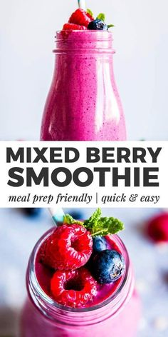 Mixed Berry Smoothie is an easy, healthy recipe for creamy, refreshing smoothies packed with delicious berries! Made with orange juice, f. Berry Smoothie With Yogurt, Frozen Berry Smoothie, Mixed Fruit Smoothie, Smoothie Without Yogurt, Yogurt Smoothies, Healthy Breakfast Smoothies, Smoothies With Frozen Fruit, Healthy Drinks, Smoothie Packs