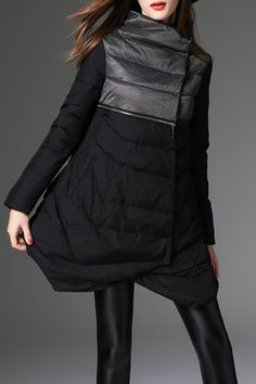 Acemiss Black Asymmetric Hem Color Block Down Coat | Coats at DEZZAL Click on picture to purchase!