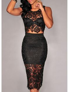 Modern dresses: Black Sleeveless Lace Crop Top and Midi Skirt Set
