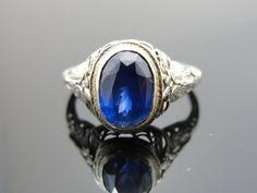 Stunning 3.11 ct Cornflower Blue Ceylon Sapphire in 14k White Gold Filigree Art Nouveau Mounting