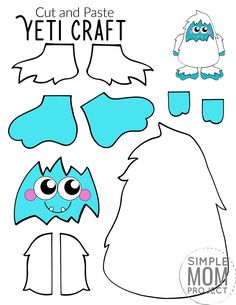 Here's a super fun cut and paste craft which is ideal for practising those scissor skills! Our free printable cut and paste Yeti craft is an ideal craft activity for the cold winter days. Whether it's for your toddlers, preschoolers, kindergartners or big kids, this simple cut and paste Yeti craft has always been a super popular paper craft in our home. So get ready for the cool months ahead with this free printable cut and paste Yeti craft template today! #cutandpastecrafts #Yeticrafts Printable Crafts, Free Printable, Puffy Paint Crafts, Paper Plate Art, Wolf Craft, Snowman Coloring Pages, Puppet Crafts, Winter Crafts For Kids, Snowman Crafts