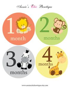 Jungle animal Month Stickers, Animal monthly sticker, Baby monthly stickers, Baby Shower gift, Baby Growth sticker, Newborn photo prop, A224 by AnniesChicBowtique on Etsy