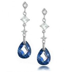 Bling Jewelry Faceted Blue Sapphire Color Teardrop CZ Sterling Silver Earrings