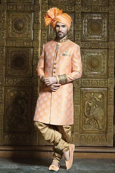 Add your sensitivity and vogue to all festive occasions in this Peach Color Brocade Sherwani Matching Churidar Pyjama and Zardozi Work. Mens Sherwani, Sherwani Groom, Wedding Lehnga, Wedding Sherwani, Wedding Poses, Wedding Suits, Indian Men Fashion, Men's Fashion, Indian Groom Wear