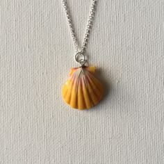 Made a sunrise shell silver wire wrapped necklace!
