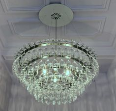 chandelier made of wine glasses