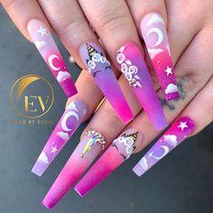 Purple Acrylic Nails, Best Acrylic Nails, Cute Acrylic Nail Designs, Nail Art Designs, Unicorn Nails Designs, Glow Nails, Acylic Nails, Fire Nails, Dream Nails