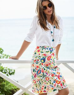 Printed Cotton A-line Skirt Above Knee Skirts at Boden Casual Fall Outfits, Office Outfits, Spring Outfits, Skirt Outfits, Dress Skirt, Bodycon Dress, Looks Camisa Jeans, White Linen Shirt, Linen Shirts
