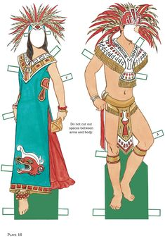 Vintage paper dolls printable dover publications New Ideas Aztec Costume, Aztec Warrior, Paper People, Aztec Art, Paper Dolls Printable, Dover Publications, Mexican Dresses, Thinking Day, Vintage Paper Dolls