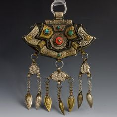 Antique leather and silver purse with coral and turquoise, Tibet, early 20th century