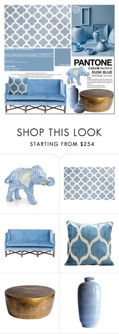 """""""Pantone Dusk Blue"""" by stellaasteria ❤ liked on Polyvore featuring interior, interiors, interior design, home, home decor, interior decorating, Herend, Pantone, Barclay Butera and Rough Rugs"""