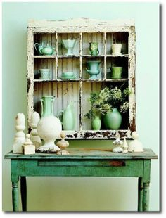 Old Windows Used As Shadowbox Shelving