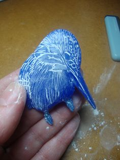 Kingfisher wax carving