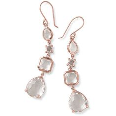 Ippolita Rose Rock Candy 4-Stone Linear Drop Earrings (9490 MAD) ❤ liked on Polyvore featuring jewelry, earrings, rose, drop earrings, 18k earrings, 18k jewelry, clear crystal earrings and clear earrings