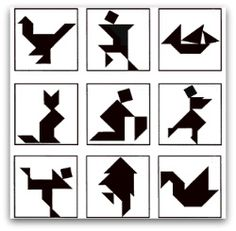 Tangram puzzles.  Use the pieces to make each shape.