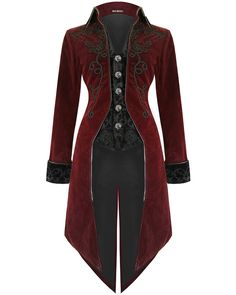 Details about Fashion Mens Tailcoat Red Velvet Goth Steampunk Aristocrat Regency Jacket - roupas - Mens, Women's Outfits Costume Steampunk, Steampunk Jacket, Gothic Steampunk, Steampunk Clothing, Gothic Clothing, Dance Clothing, Victorian Gothic Fashion, Gothic Fashion Men, Steampunk Necklace