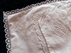 Pair antique French monogrammed pillowcases pillow covers cushion cases monogrammed w hand crochet lace, vintage bed linens heirloom bedding by MyFrenchAntiqueShop on Etsy