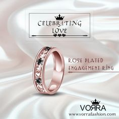 Dazzle her with a rose gold ceremonial ring from our Heart-warming collection of Engagement Rings! Our exceptional collection of rings includes both contemporary & vintage styles.  http://www.vorrafashion.com/jewellery/ring/engagement/14k-rose-plated-engagement-designer-band-ring-in-925-sterli-3761.html #valentine #season #loveisintheair