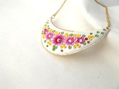 White Statement Necklace Gold Pendant with Pink by TunicBotik, $50.00