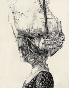 intricate collage drawing. just lovely.