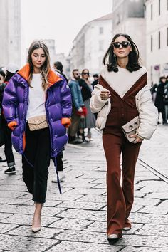 Puffer Coat   Cropped Pants   Chanel Bag   Brown Jumpsuit   Fashion Week   Squad Goals