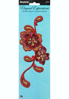Simplicity® Elegant Expressions Red Iron On Flower Applique $6.69