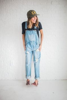 DETAILS: - Distressed overalls with light wash denim - Run a little big - Model is wearing a small - Paired with Basic Black Tee  Astonishing position
