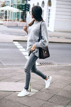 fuzzy grey sweater, burgundy bag, ripped knee skinny jeans and Adidas sneakers #style #fashion