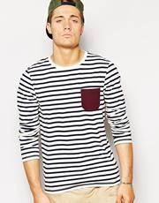 ASOS - T-shirt rayé à manches longues et poche contrastante