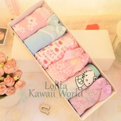 3 for 4 kawaii kitty flowers pattern undies 6pcs/pack