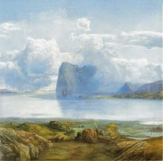 Lars Hertervig/View from Borgøya, 1867 Norwegian artist Nordic Art, Scandinavian Art, Landscape Art, Landscape Paintings, Artist Birthday, Google Art Project, Canadian Art, Paul Gauguin, Cool Landscapes