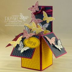 Stampin' Up! Papillon Potpourri and a Pop-Up Card Box by Debbie Henderson, Debbie's Designs.