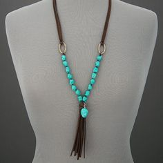 cool Brown Soft Leather Turquoise Stones Tassels Bohemian Design Statement Necklace