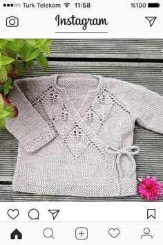 Knitting Pattern Pdf For Baby Cardigan Bebe, Knitted Baby Cardigan, Knit Baby Sweaters, Knitted Baby Clothes, Knitting For Kids, Baby Knitting Patterns, Baby Patterns, Free Knitting, Knitting Projects
