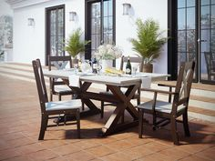 Rectangular X-Base Outdoor Poly Dining Set The Rectangular X-Base Outdoor Poly Dining Set is luxury dining outdoors. This environmentally friendly furniture is Amish made in America with recycled plastic. Grey Dining Tables, Outdoor Tables And Chairs, Outdoor Dining Set, Outdoor Living, Grey Outdoor Furniture, Recycled Furniture, The Fresh, Amish, Outdoors