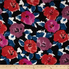 Rayon Challis Floral Black/Purple from @fabricdotcom  This rayon fabric has a beautiful fluid drape and soft hand. It is perfect for creating shirts, blouses, gathered skirts and flowing dresses with a lining. Colors include orchid, red, navy, black, and white.