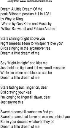 Top songs, 1931 music charts: lyrics for Dream A Little Dream Of Me Disney Song Lyrics, Baby Lyrics, Great Song Lyrics, Me Too Lyrics, Disney Songs, Music Lyrics, Music Songs, Lullaby Songs, Silly Songs